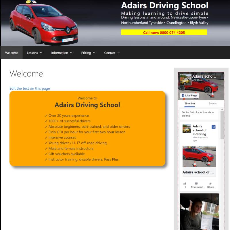 Adairs School of Motoring website