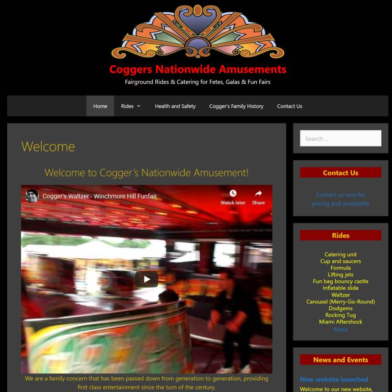 Coggers Nationwide Amusements website