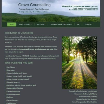 Grove Counselling website