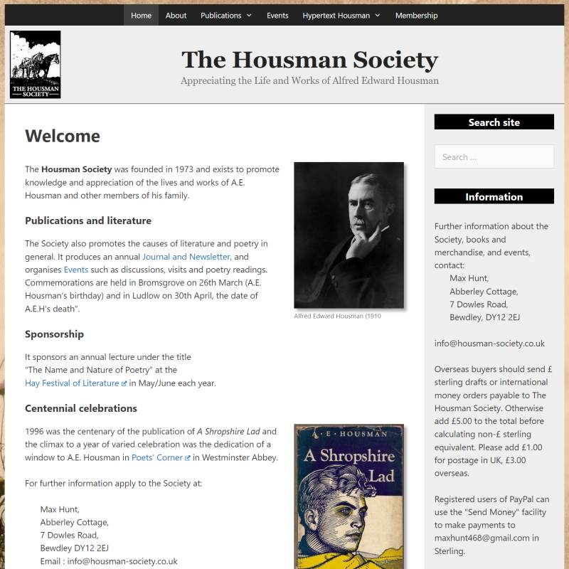 Housman Society website