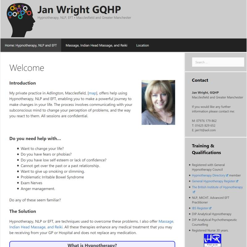 Jan Wright Hypnotherapy website