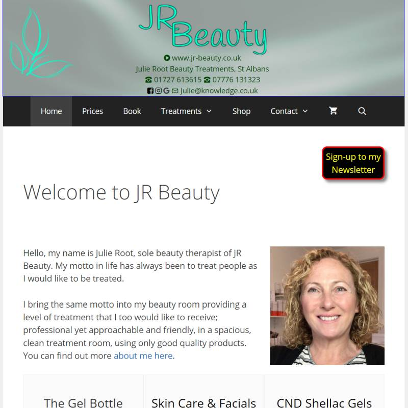JR Beauty website