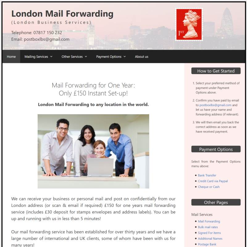 London Mail Forwarding website