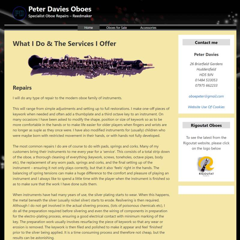 Peter Davies Oboes website