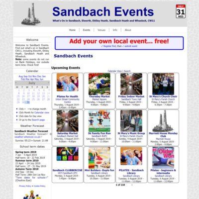 Sandbach Events website