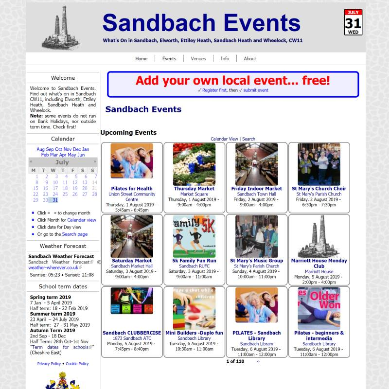 Sandbach Events website