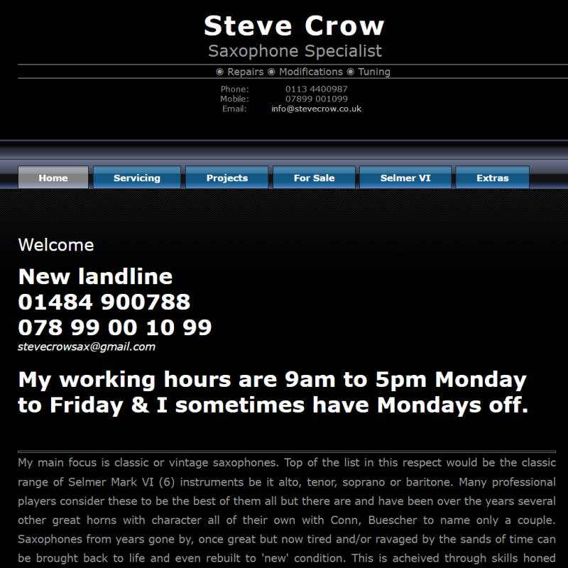 Steve Crowe Saxophones website