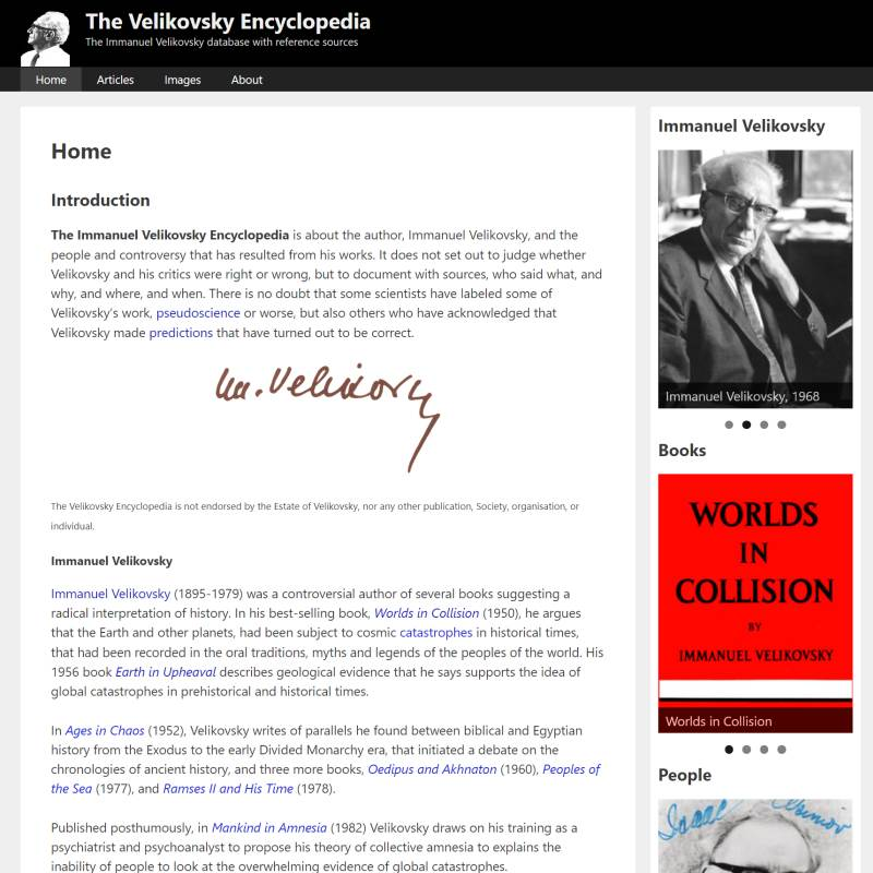 Velikovsky Encyclopedia website