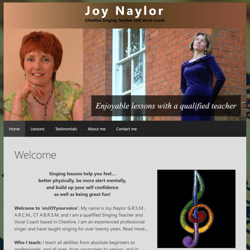 Vocal Coach Cheshire website